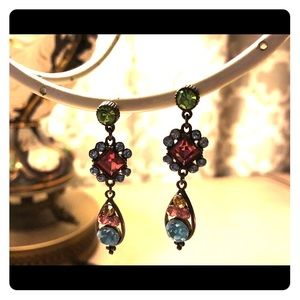 Multi-colored statement earrings.